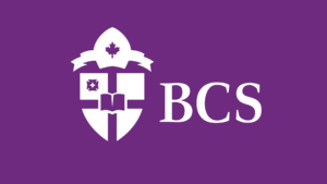 Bishops College School rebrand rebranding full logo white on purple, Romantic Brand Bureau