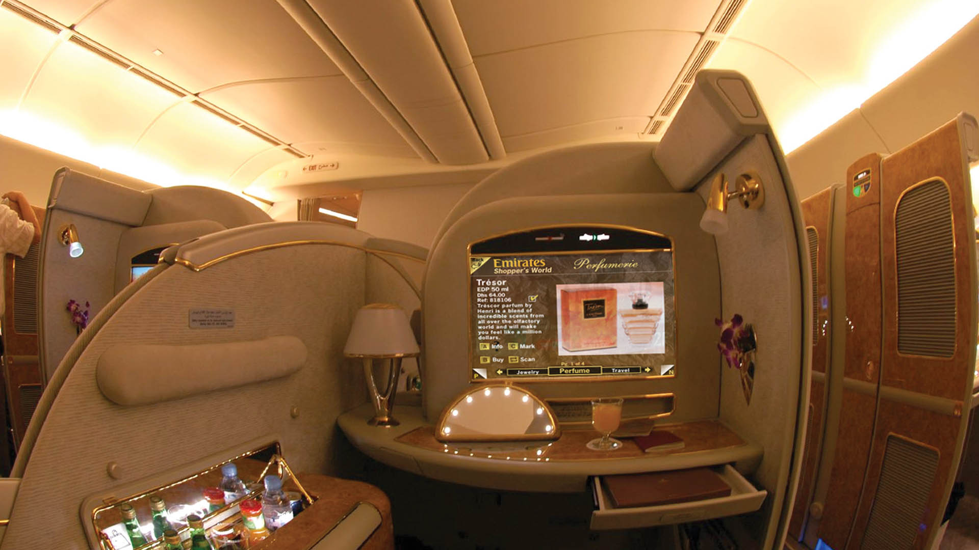 Emirates First Class Cabin branded online onboard duty free shopping