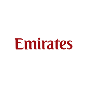 Emirates Airlines wordmark logo red on transparent background, brand, branding in-flight online duty free shopping experience
