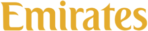 Emirates Airlines wordmark logo gold on transparent background, brand, branding in-flight online duty free shopping experience