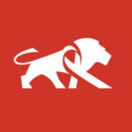 Piuma Tanzania Logo White Lion on Red Background Symbol