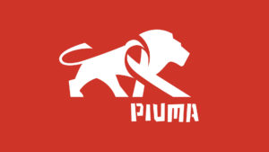 Piuma Tanzania Logo White Lion on Red Background Symbol and Wordmark