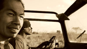 Piuma Michael Wou traveling from village to village in Tanzania