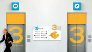 Jeffrey Hale Hospital, elevator design, interior architecture design, security, signage and wayfinding, advertising, promotions, branded content, design system, brand and identity, logo, Romantic Brands, Michael Wou, Russell Volckmann